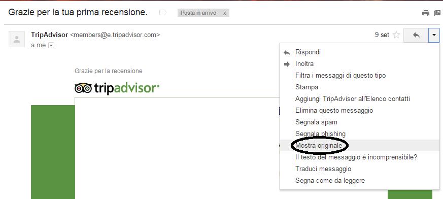 trovare IP di una mail