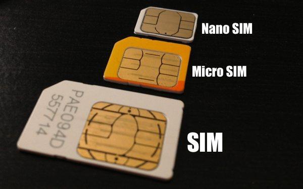 Le 3 tipologie di SIM mostrate in ordine crescente: Nano SIM, poi Micro SIM e SIM.