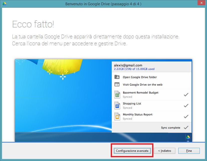configurazione avanzata google drive